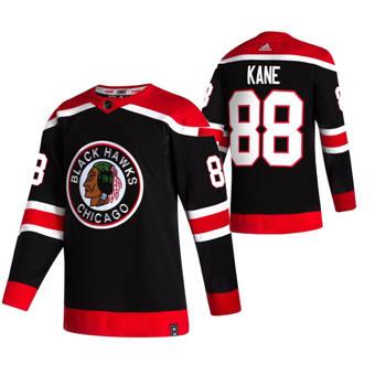 Men's Chicago Blackhawks #88 Patrick Kane Black 2020-21 Reverse Retro Alternate Hockey Jersey