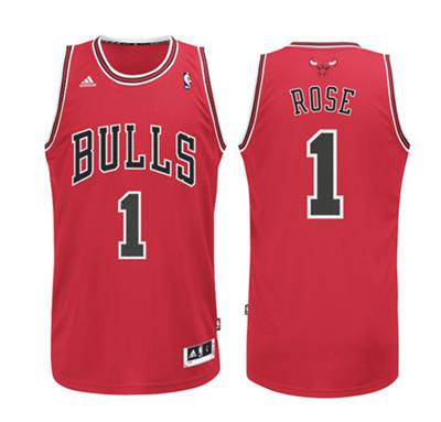 Men's Chicago Bulls #1 Derrick Rose Red Stitched Basketball Jersey