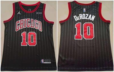 Men's Chicago Bulls #10 DeMar DeRozan Black Stitched Basketball Jersey
