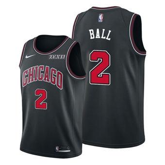 Men's Chicago Bulls #2 Lonzo Ball Black Stitched Basketball Jersey