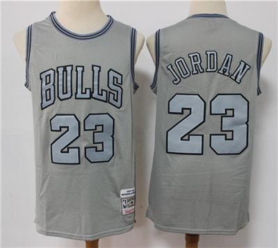 Men's Chicago Bulls #23 Michael Jordan Grey Throwback Stitched Basketball Jersey