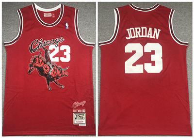 Men's Chicago Bulls #23 Michael Jordan Red Mitchell & Ness Juice Wrld Stitched Basketball Jersey
