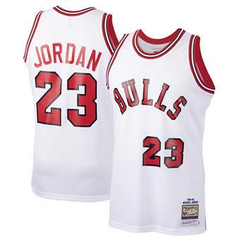 Men's Chicago Bulls #23 Michael Jordan White 1984-85 Throwback Stitched Basketball Jersey