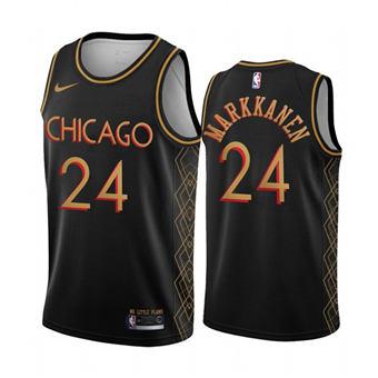 Men's Chicago Bulls #24 Lauri Markkanen Black Motor City Edition 2020-21 No Little Plans Stitched Basketball Jersey