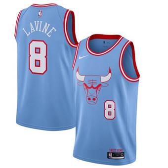 Men's Chicago Bulls #8 Zach LaVine Blue 2019 City Edition Stitched Basketball Jersey
