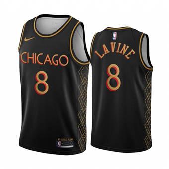 Men's Chicago Bulls #8 Zach Lavine Black Motor City Edition 2020-21 No Little Plans Stitched Basketball Jersey