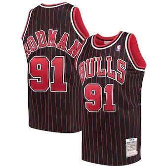 Men's Chicago Bulls #91 Dennis Rodman 1995-96 Stitched Hardwood Classics Jersey - Black