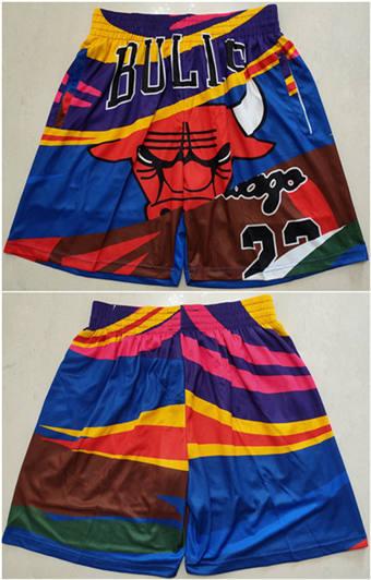 Men's Chicago Bulls Colorful Mitchell&Ness Basketball Shorts (Run Small)