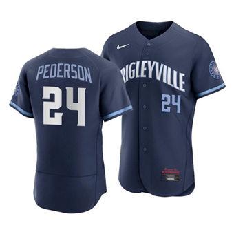 Men's Chicago Cubs #24 Joc Pederson 2021 Navy City Connect Stitched Baseball Jersey