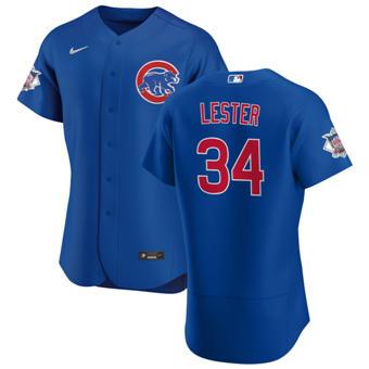 Men's Chicago Cubs #34 Jon Lester Royal Alternate 2020 Authentic Player Baseball Jersey