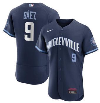 Men's Chicago Cubs #9 Javier Báez 2021 Navy City Connect Stitched Baseball Jersey