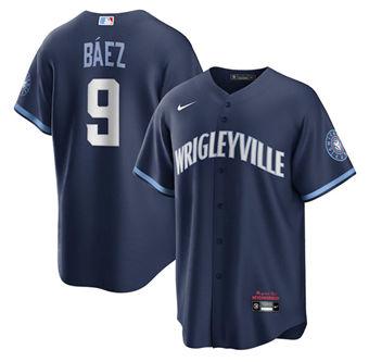 Men's Chicago Cubs #9 Javier Báez Navy 2021 Stitched Baseball Jersey