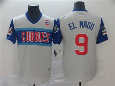 Men's Chicago Cubs #9 Javier Baez El Mago 2019 Little League Classic Gray Stitched Baseball Jersey