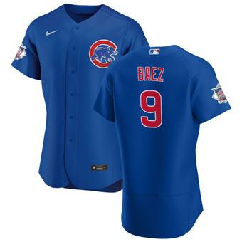 Men's Chicago Cubs #9 Javier Baez Royal Alternate 2020 Authentic Player Baseball Jersey