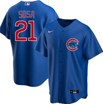 Men's Chicago Cubs Blank #21 Sammy Sosa Blue Cool Base Stitched Baseball Jersey