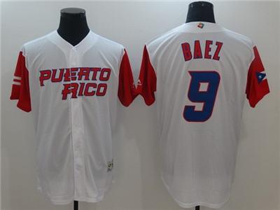 Men's Chicago Cubs Blank #9 Javier Baez White Cool Base Stitched Baseball Jersey