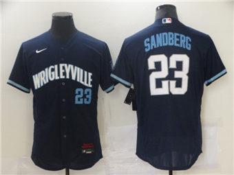 Men's Chicago Cubs Blank 2021 #23 Ryne Sandberg Navy City Connect Stitched Baseball Jersey