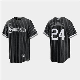 Men's Chicago White Sox #24 Yasmani Grandal Black 2021 City Connect Cool Base Stitched Baseball Jersey