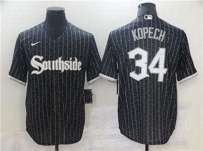 Men's Chicago White Sox #34 Michael Kopech Black 2021 City Connect Cool Base Stitched Baseball Jersey
