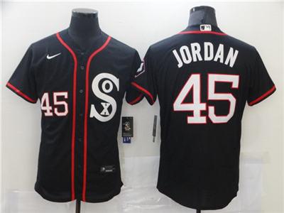 Men's Chicago White Sox #45 Michael Jordan Black Flex Base Stitched Baseball Jerseys