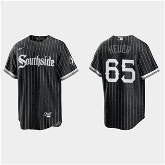 Men's Chicago White Sox #65 Codi Heuer Black 2021 City Connect Cool Base Stitched Baseball Jersey