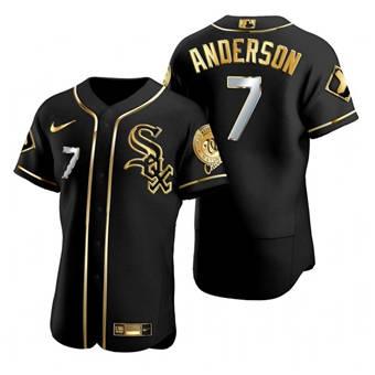 Men's Chicago White Sox #7 Tim Anderson Black Gold Flex Base Stitched Baseball Jersey