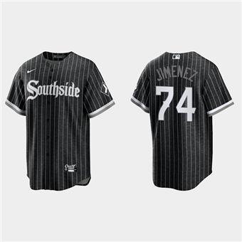 Men's Chicago White Sox #74 Eloy Jimenez Black 2021 City Connect Cool Base Stitched Baseball Jersey