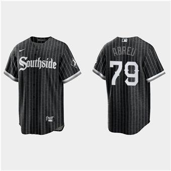 Men's Chicago White Sox #79 Jose Abreu Black 2021 City Connect Cool Base Stitched Baseball Jersey