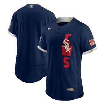 Men's Chicago White sox Blank 2021 Navy All-Star Flex Base Stitched Baseball Jersey