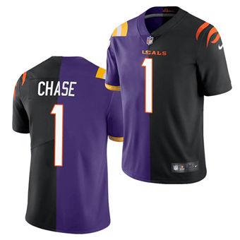 Men's Cincinnati Bengals #1 Ja'Marr Chase 2021 Black Purple Split Stitched Football Jersey