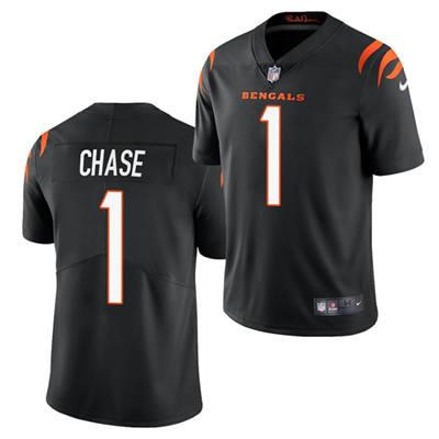 Men's Cincinnati Bengals #1 Ja'Marr Chase 2021 Football Draft Black Vapor Limited Stitched Jersey
