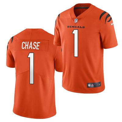 Men's Cincinnati Bengals #1 Ja'Marr Chase 2021 Football Draft Orange Vapor Limited Stitched Jersey