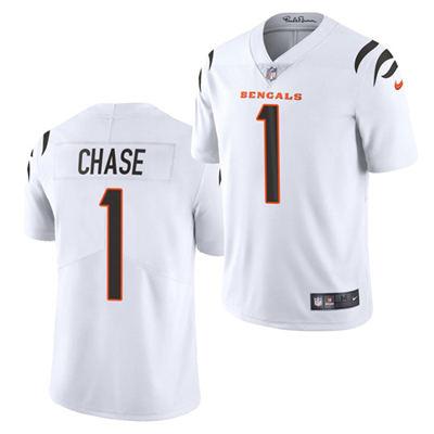 Men's Cincinnati Bengals #1 Ja'Marr Chase 2021 Football Draft White Vapor Limited Stitched Jersey