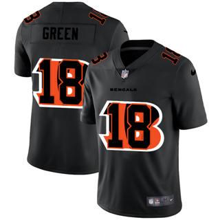 Men's Cincinnati Bengals #18 A.J. Green Team Logo Dual Overlap Limited Football Jersey Black