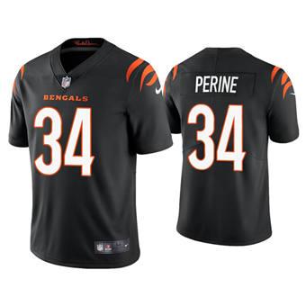 Men's Cincinnati Bengals #34 Samaje Perine 2021 Black Vapor Untouchable Limited Stitched Football Jersey