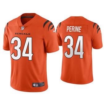 Men's Cincinnati Bengals #34 Samaje Perine 2021 Orange Vapor Untouchable Limited Stitched Football Jersey