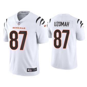 Men's Cincinnati Bengals #87 C.J. Uzomah 2021 New White Vapor Untouchable Limited Stitched Football Jersey