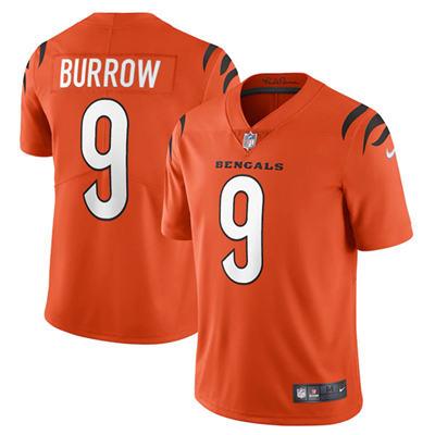 Men's Cincinnati Bengals #9 Joe Burrow 2021 Orange Vapor Limited Stitched Football Jersey
