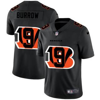 Men's Cincinnati Bengals #9 Joe Burrow Team Logo Dual Overlap Limited Football Jersey Black