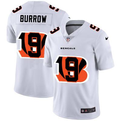 Men's Cincinnati Bengals #9 Joe Burrow White Team Logo Dual Overlap Limited Football Jersey