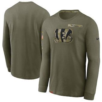 Men's Cincinnati Bengals Football Olive 2021 Salute To Service Performance Long Sleeve T-Shirt