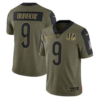 Men's Cincinnati Bengals Joe Burrow Football Olive 2021 Salute To Service Limited Player Jersey