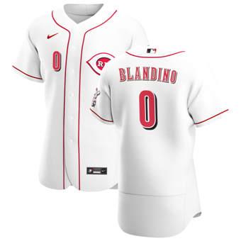 Men's Cincinnati Reds #0 Alex Blandino White Home 2020 Authentic Player Baseball Jersey