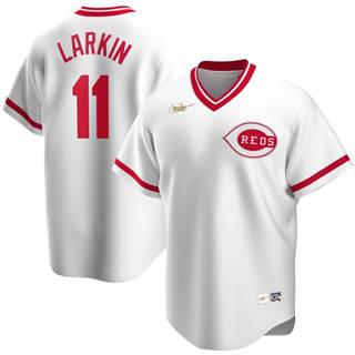 Men's Cincinnati Reds #11 Barry Larkin 2020 Home Cooperstown Collection Player Baseball Jersey White