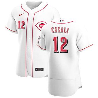 Men's Cincinnati Reds #12 Curt Casali White Home 2020 Authentic Player Baseball Jersey