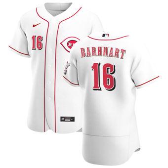Men's Cincinnati Reds #16 Tucker Barnhart White Home 2020 Authentic Player Baseball Jersey