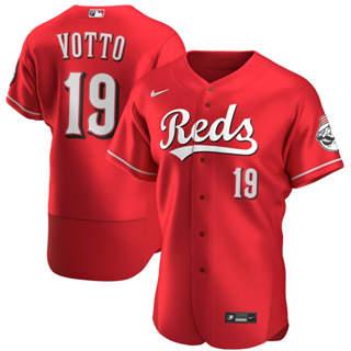Men's Cincinnati Reds #19 Joey Votto 2020 Scarlet Authentic Alternate Player Baseball Jersey