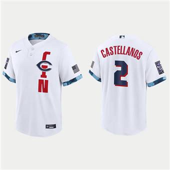 Men's Cincinnati Reds #2 Nick Castellanos 2021 White All-Star Cool Base Stitched Baseball Jersey