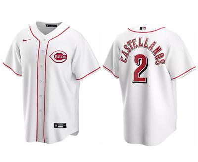 Men's Cincinnati Reds #2 Nick Castellanos Cool Base white Stitched Baseball Jersey
