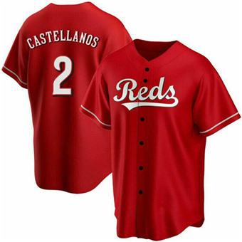 Men's Cincinnati Reds #2 Nick Castellanos Red Cool Base Stitched Baseball Jersey